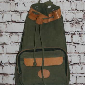 5a94155f0a 90s Canvas Leather Backpack One Strap Drawstring Army Green Rucksack Purse Bag  Grunge Hipster Punk Pastel