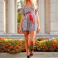 Tailgate Time Houndstooth Dress with Red Belt