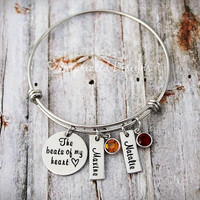 Mother's Bracelet - Bangle - The Beats Of My Heart - Personalized - Name - Birthstone - Mommy Jewelry - Gift