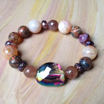 Snakeskin Jasper, Purple Dragon Vein Agate, Pink Agate, and Mauve Bead Bracelet with Iridescent Pendant/Stretch Bracelets/Handmade Bracelets