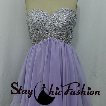 2015 Girls Lavender Short Strapless Beaded Straps Back Chiffon Prom Dress with Sparkly Top