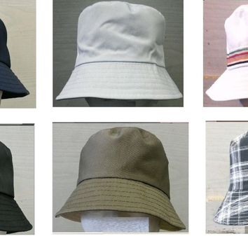 Mens Womens Cotton SUMMER Bucket Hat Boonie Fishing Beach Festival Sun Cap
