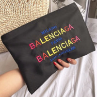 Balenciaga New fashion colorful letter embroidery couple bag clutch bag envelope bag Black
