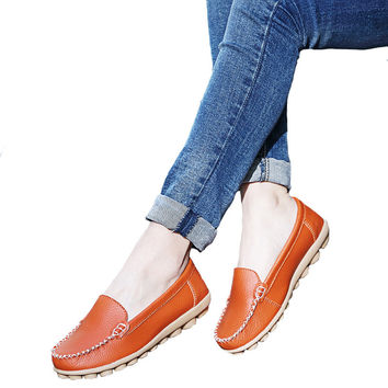 Vintage Women Shoes Genuine Leather Ballet Flats Slip on Ladies Dance Ballet Ballerina Flats Moccasins Loafers Shoes