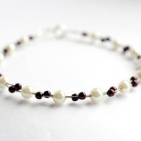 Ivory Pearl Bracelet, Red Jewelry, UK Jewellery
