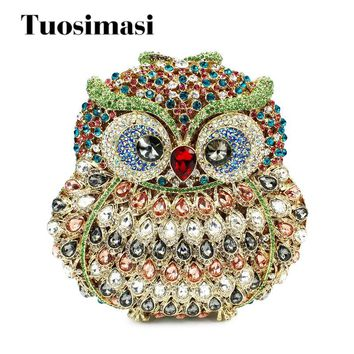 Hollow Out Multi Stones Women Owl Crystal Clutch Evening Bags Bridal Wedding Party Prom Handbag Purse Metal Clutches With Chain