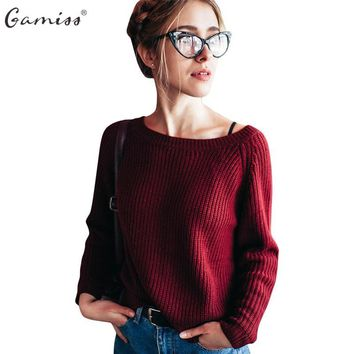Gamiss 4 color Autumn&Winter Sweater women loose long sleeve knitted pollovers o-neck solid casual crop sweater female jumpers