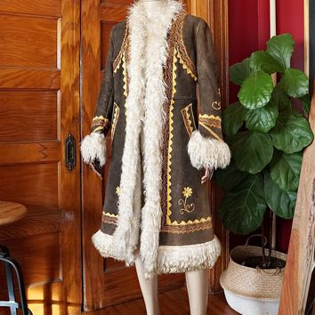 Vintage 1960s Afghan + Handmade Sheepskin Embroidered Coat