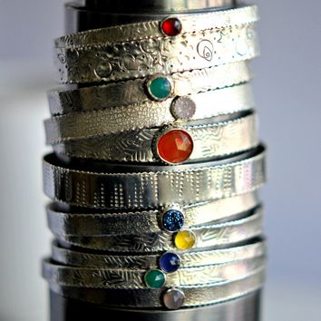 Intergalactic Cuff Series- Sterling Silver and Gemstone Bracelets