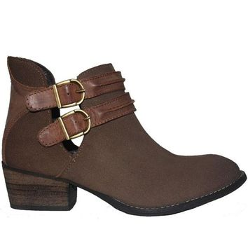 VONES2C Steve Madden Raskal - Taupe Leather/Suede Dual Buckle Strap Bootie