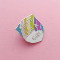 Fight Like A Girl Enamel Lapel Pin Badge in Pastel Rainbow