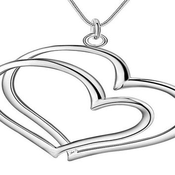 Silver Plated Fashion Double Heart Shape Pendant necklace