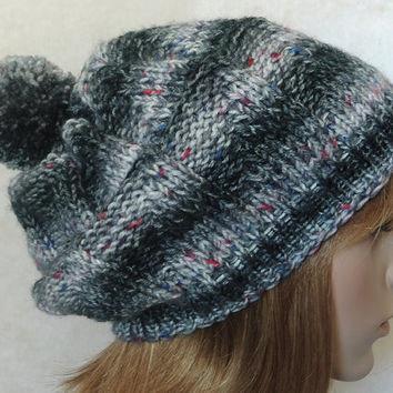 Hand Knitted Women Hat in Black and Grey with Pom Pom,Thick Warm Winter Hat,Handmade Ski Hat,Women Accessory,Men Accessory,Unisex Beanie