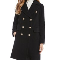 Anne Klein Double Breasted Lion Button Coat | Dillard's