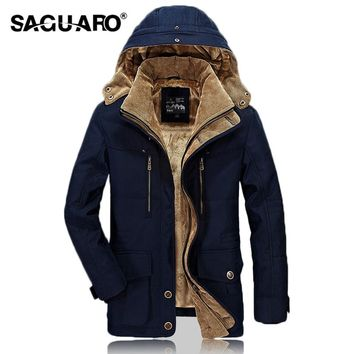 SAGUARO Man Jacket 2017 Winter Fur Hooded Thicken Outwear Warm Plus Velvet Jackets Men Brand Fashion Casual Coat Parka casaco