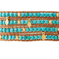"Chan Luu 32"" Turquoise/Beige Wrap Bracelet Turquoise/Beige - Zappos.com Free Shipping BOTH Ways"