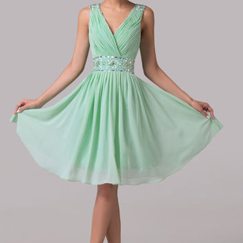 Light Green Deep V-Neck Wrap Beaded Homecoming Dress