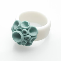 Engraved Yellow White  Porcelain Ring Abstract Flower Baja