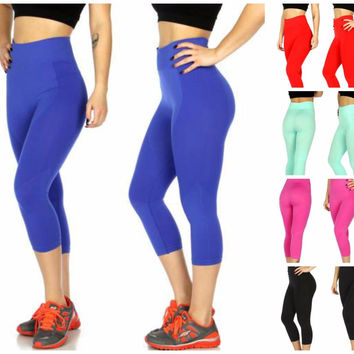 Solid Multi Texture Capri Active Pants in S/M and L/XL in 5 Colors