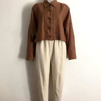 STUART MEMBERY!!! Vintage 80s 'Stuart Membery' cropped, latte coloured, linen shirt with Chinese button knot fasteners and fold over collar.