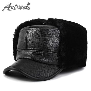 [AETRENDS] 2017 Winter Bomber Hats for Men Winter PU Leather Flat Dad Hat Hats Warm with Ears Flaps Russian Cap Z-3863