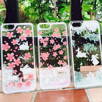 New Arrive Fashion Liquid Quicksand Sakura rabbit snow cat Back Case  Capa Para Fundas cover For iPhone 6 6 Plus free shipping