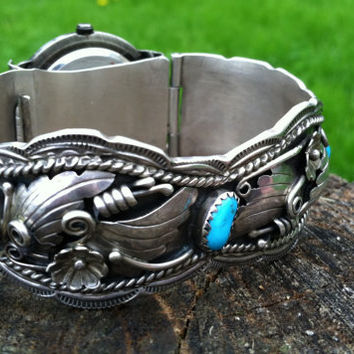Navajo Sterling Silver and Turquoise Watch Band - Stunning Craftsmanship Hallmarked and Signed