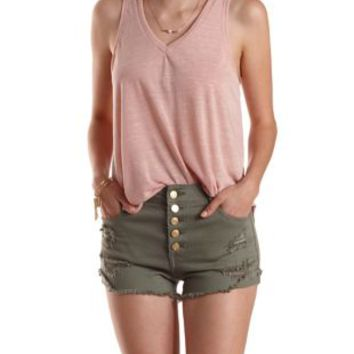 Pearl Blush Slub Knit Swing Tank Top by Charlotte Russe