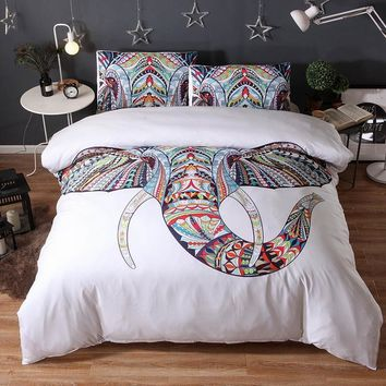 3pcs Animal White Brand Bedding Sets Elephant 3D Luxury Bed Cover Duvet Cover Comforter Queen King Twin Size Designer Bed Sheets