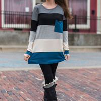 Colorblock Top, Teal/Gray