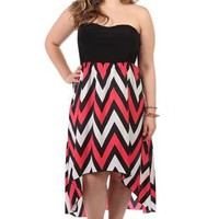 plus size strapless chevron print high low day dress - 400003680757 - debshops.com