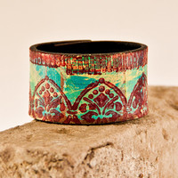 CYBER MONDAY Leather Jewelry Wristband Cuff Bracelet / Eco Friendly Bohemian Christmas Holiday Winter Trends SALE