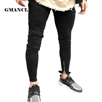 2018 New arrival men designer black Ripped jeans men casual male biker jean skinny motorcycle high quality denim Joggers pants