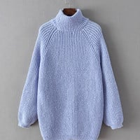 Turtleneck Long Sleeve Knitted Sweater