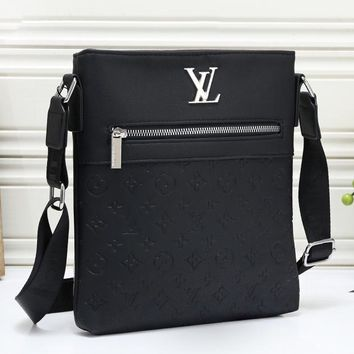 LV Louis Vuitton Fashion Casual Business Embossed Backpack Shoulder Crossbody Bag