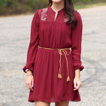 Holly Berry Belted Dress {Maroon}