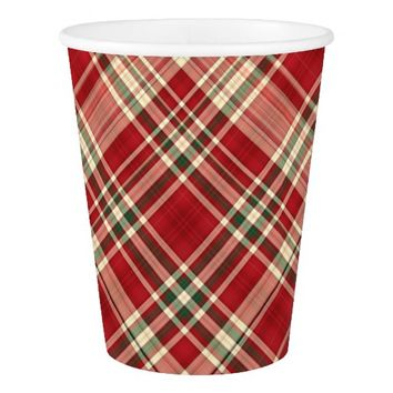 Christmas Plaid 23-PAPER CUPS