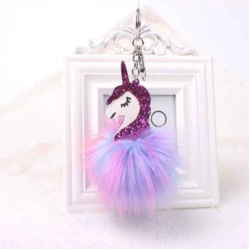 Multi-Color Fluffy Unicorn Pompom Faux Rabbit Fur Key Bag Chain Keyring Valentine's Day Gifts For Girl Kids Ladies Unicorn Toy