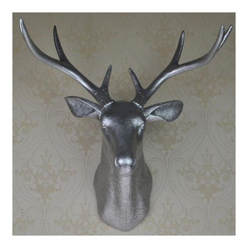 Plastic Deer Head Wall Hanging Decoration silver