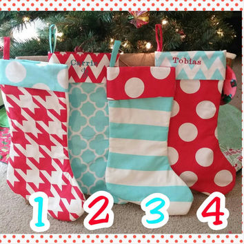 Personalized Chevron Stocking - Family Stockings - Red and Blue - Stripe - Polka Dot-  Cat in the Hat - Dr Seuss -  Embroidered -  Christmas