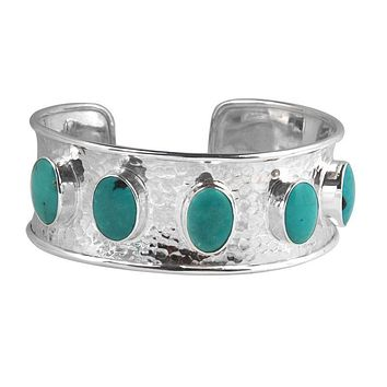 SB-1219-TQ Sterling Silver Bracelet With Turquoise