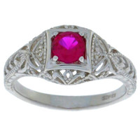 Ruby & Diamond Round Ring .925 Sterling Silver
