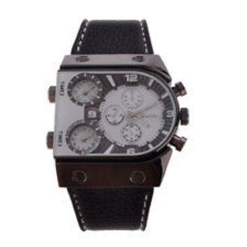 Military Army Dual Time Zones Mens Leather Watch