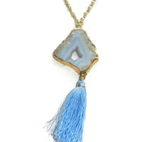 Light Blue and White Druzy Tassel Necklace with Pearl Detail, 24 Inches