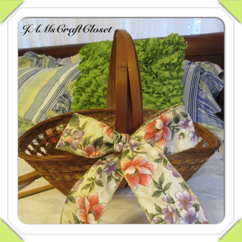 Unique Vintage Woven Gathering Basket With Spring Flower Bow-Bling Flower Accent-Collectible-Gift Idea-Centerpiece-Home Decor-Country Decor