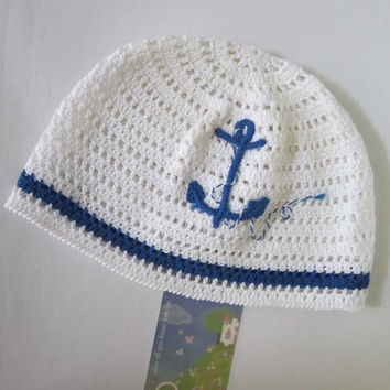 Boys Sun Hats, Crochet Anchor Boy Hat, White Sailor Beanie, Crochet Nautical Hat, Boys Summer Hat, Sun Hat, Nautical Baby Boy Shower