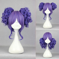 35cm Long Blue Beautiful lolita wig Anime Wig Pretty Hair Cosplay Manga 2 Ponytails Purple Curly Lolita Wig,Colorful Candy Colored synthetic Hair Extension Hair piece 1pc WIG-301E