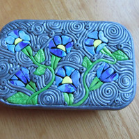 """Polymer Filigree Tin """"Morning Glory"""" Altoids size tin Gift Box or storage in Blue, Purple, Green, Silver and Yellow"""