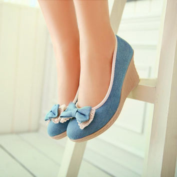 Denim Bow Women Wedges Platform Shoes