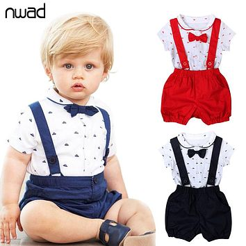 Baby Boy Suspenders & Shorts Outfit